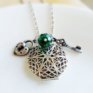 Key To My Heart Birthstone Scent Locket Necklace